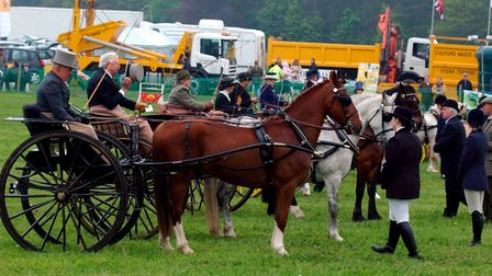 EADT NEWS. The private driving entries line up for the judges at the South Suffolk Show. PIC RICHAR