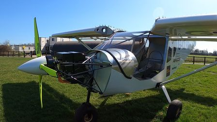 """TheZenith CH750 light aircraft which has been converted into an """"electric sky Jeep"""" in Old Buckenham"""