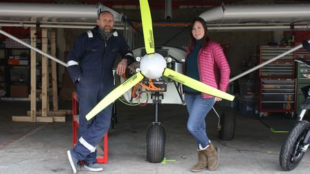 """Tim and Helen Bridge with theZenith CH750 or """"electric sky Jeep"""", which is to be tested in Old Buckenham"""