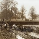 Moat work at Oxburgh Hall in the 19th century.