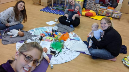 Felicity Pollendine with mums at a baby massage session in Ely