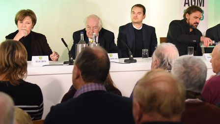 Norwich City's 2018 AGM at Carrow Road, pictured from left, majority shareholders Delia Smith and Mi
