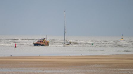 The motor-powered yacht was travelling from Lowestoft to Wells-next-the-Sea when the boat lost power.