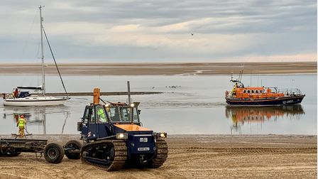 It took two hours to bring the yacht into the safety of Wells-next-the-Sea harbour.