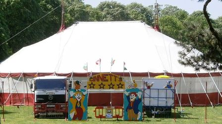 The front of Circus Ginnett big-top.