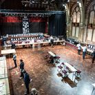 Suffolk County Council and Ipswich Borough Council election count 2021, at the Ipswich Corn Exchang