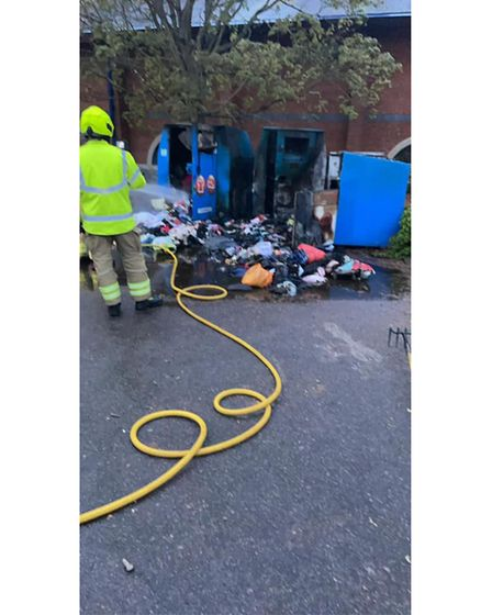 Firefighters from Sudbury Fire Station had to wrench the bins open to put out the blaze