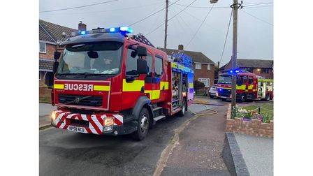 Two engines attended the second fire in Great Cornard this morning