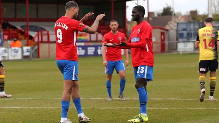 Paul McCallum of Dagenham and Redbridge scores the second goal for his team from the penalty spot an