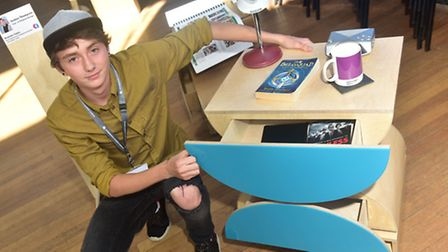A Level students at Attleborough Academy exhibiting their design projects.Jordan Thompson with his b