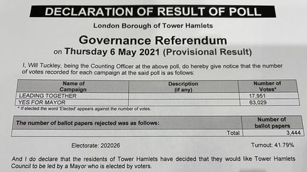 Result... victory for keeping elected mayor.