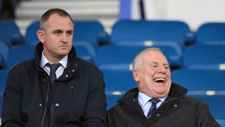 Joe Royle (right) and Everton academy coach Francis Jeffers during the Premier League match at Goodi