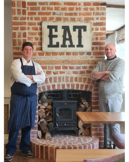 L/R: Head chef at The Lion Brasserie Ashley with general manager James