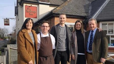 Jonathon Pearson, second from left, is head chef at The Railway Inn Westerfield