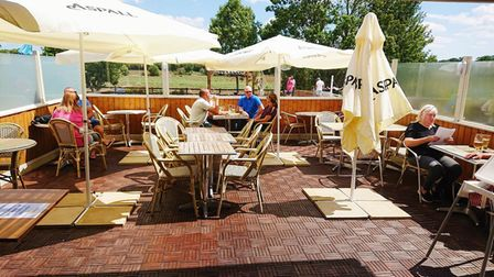 The outdoor dining area at The Railway Inn Westerfield has been fully booked during weekends