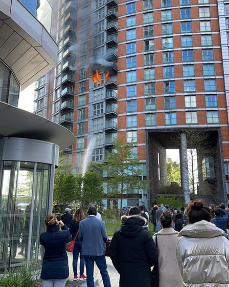 Neighbours in shock seeing blaze in tower block with dangerous cladding