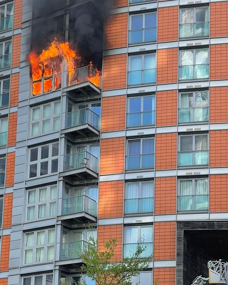 Eighth-floor inferno beforeit spreads up to 9th and 10th floors at New Providence Wharf