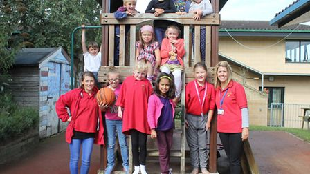 Bright Stars manager Bev Richards (right) with play worker Katie Smith and club members. Picture: KA