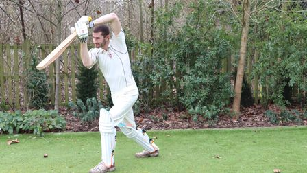 The study's co-author Ben Tinkler-Davies with a bamboo cricket bat.