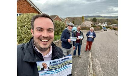 MP Simon Jupp out on the campaign trail ahead of the county council elections.