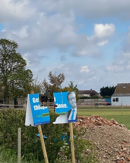 James Palmer tweeted this photo of vandalism to his campaign poster at Isleham