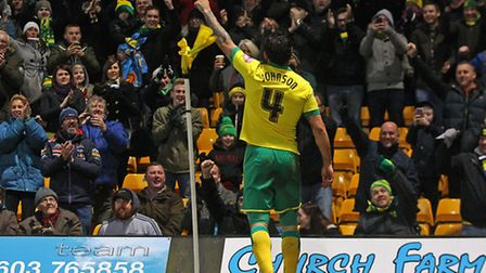 Bradley Johnson celebrates a goal in front of the City fans. Picture: Paul Chesterton