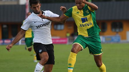 Jacob Murphy of Norwich and Orel Dgani of Maccabi Haifa in action during the pre season friendly mat