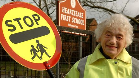 Betty Boweren, still working as a lollipop lady after 41 years at the age of 80.Photo: Bill SmithCop