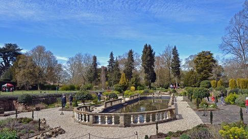 The Italian Garden with balustrade around the lilypond at the Gardens of Easton Lodge
