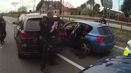 Armed police boxed in two vehicles on the A12 at Kelvedon