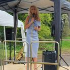 Soprano Nancy May performed at asocially distanced drive-in concertin Dunmow St Mary's Church's car park