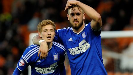 Luke Chambers points to Teddy Bishop after the youngster's thrilling run to the Blackpool bye-line h