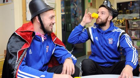 Ipswich Town football players handing out gifts at West Suffolk Hospital (Rainbow Ward). Left to rig
