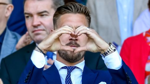 Injured skipper Luke Chambers makes a heart with his hands ahead of the Ipswich Town v Middlesbrough