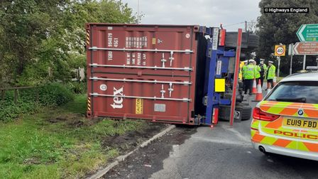 The exit ramp of the A12 at Marks Tey is closed due to the overturned lorry