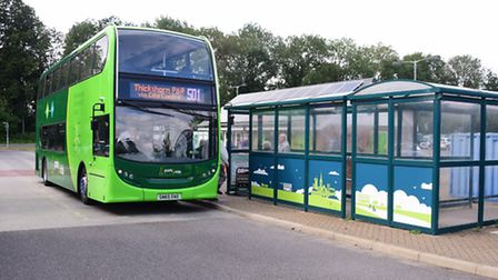 One of the new buses at the Thickthorn Park & Ride. Picture: DENISE BRADLEY