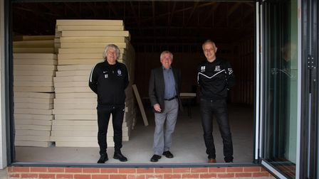 Geoff Thomas, Peter Turner and Rob Bowden in the new clubhouse at Long Melford Football Club. Pictu