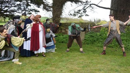 Princess Irene (red cape) played by Keira Painter,