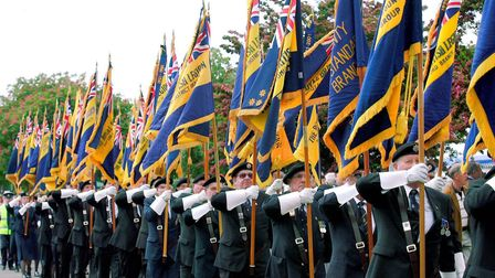 A march past of Royal British Legion standards at the Suffolk Show in 2004