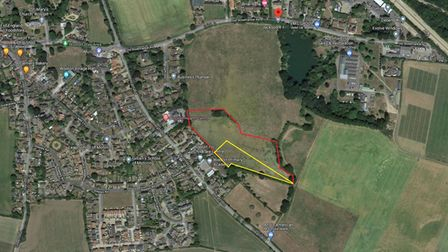 Aerial view of land south of Old Stowmarket Road in Woolpit where 40 homes are planned