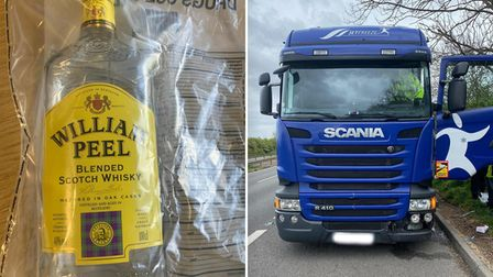 This lorry driver threw a bottle of whiskey and wine from his cab