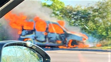 The van blaze began at around 7am this morning (May 12) on the A1southboundnear Wittering