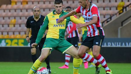 Gary Hooper in action for Norwich City's Under-21s in their Premier League International Cup group c