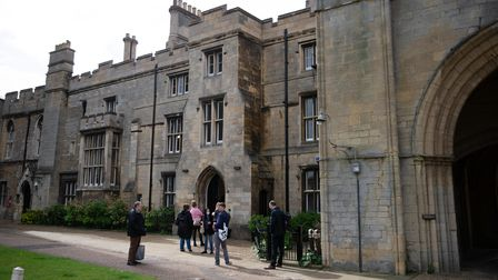 Lady Lavinia Nourse arrive at Peterborough Knights Hall, a Temporary nightingale court in the ground