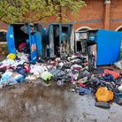 The charity clothing bins at the back of the Kingfisher Leisure Centre in Sudbury were found ablaze