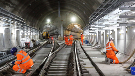Track works at Whitechapel where the two branches split