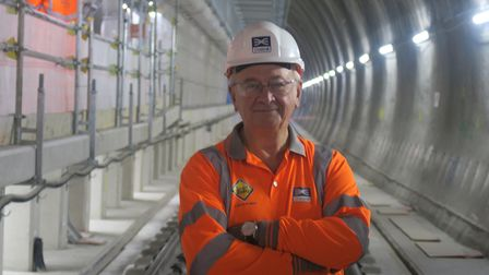 Troubled Crossrail's chairman Terry Morgan visiting Whitechapel construction works before quitting.