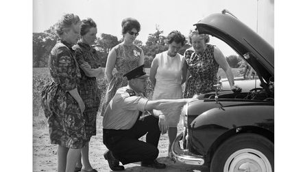 Members of West Suffolk WI receiving lessons from the police in June 1966