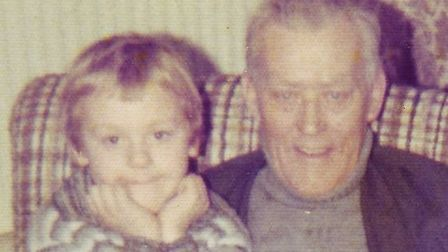 """""""Simon"""" who has haemophilia with his grandfather. Picture: Supplied"""