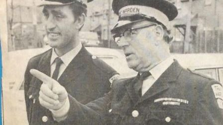 Ely's first traffic wardens: Eric Pring, of Prickwillow, and Peter Gipp, of Sutton, pictured in 1972.
